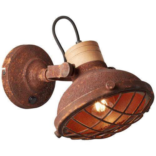 Wand Industrie Leuchte Lampe Spot Strahler mit Schalter CHARO rostfarbend NEU