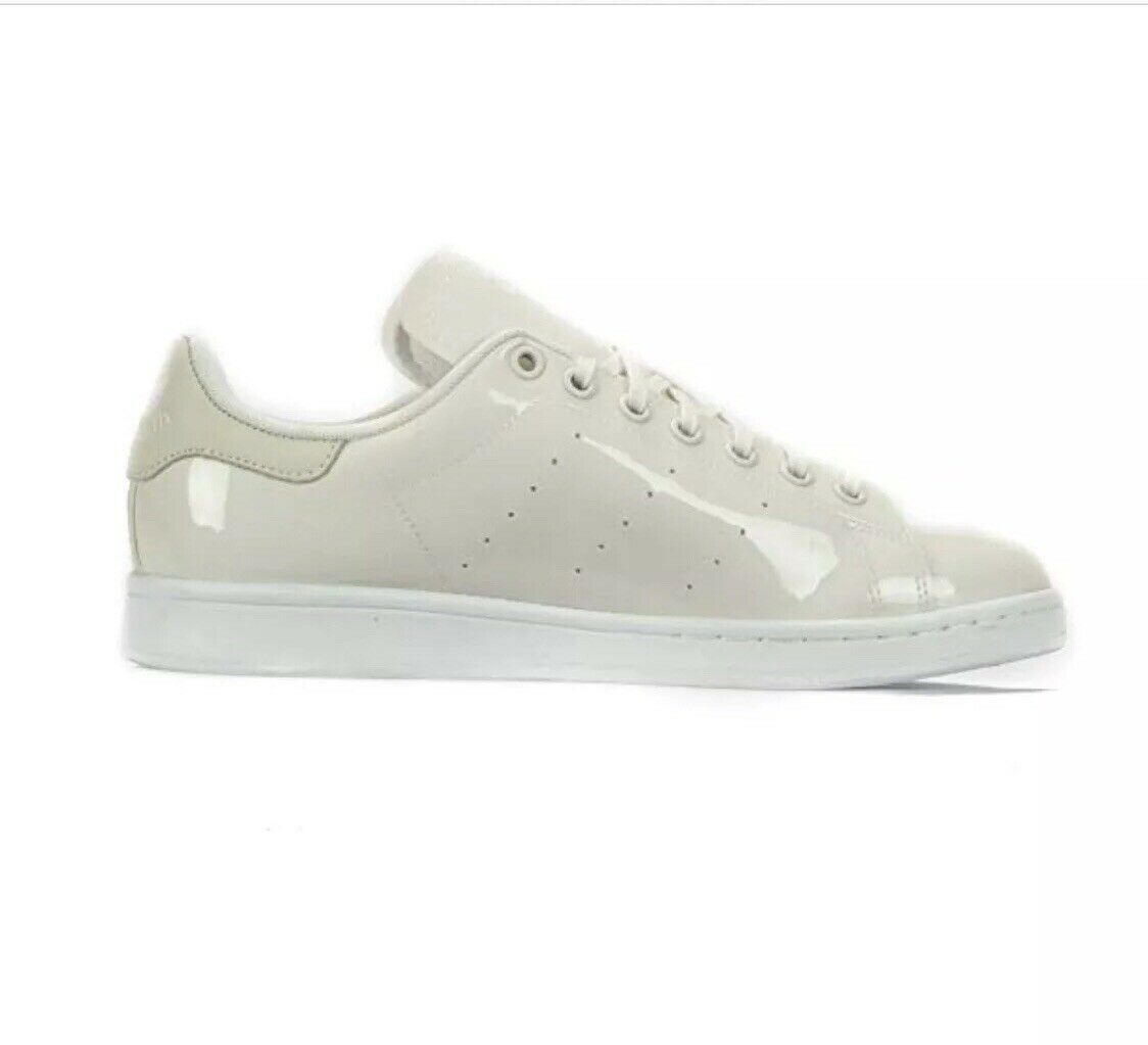 Adidas Stan Smith Womens Size 5 Patent Leather Trainers Sneakers BA7497 In White