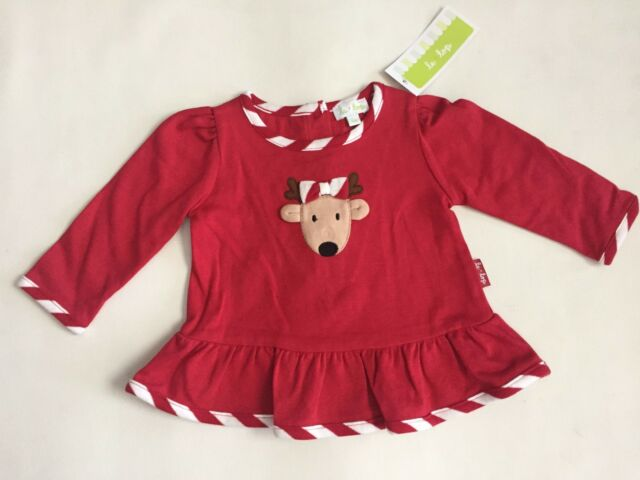 f480de5db NEW Le Top Baby Girl 3m Red Holiday Christmas Reindeer Dress/Top, Cotton