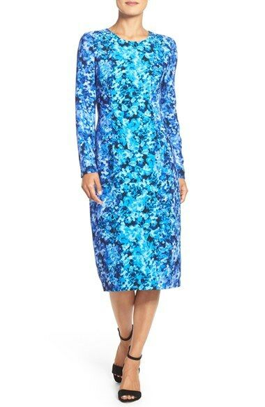 MAGGY LONDON FLORAL CREPE MIDI SHEATH DRESS sz 8