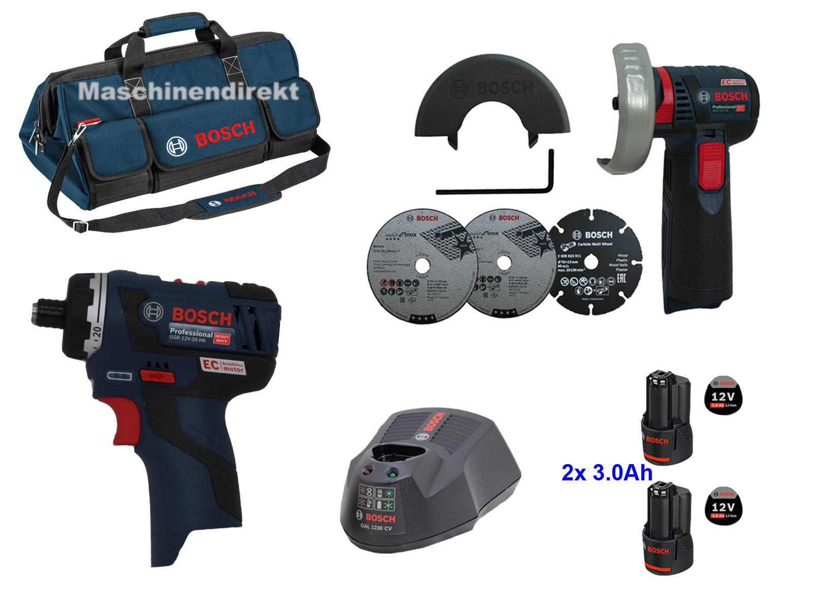 Bosch Akku Schrauber GSR 12V-20 HX + Akku Winkelschleifer GWS 12V-76 + Tasche