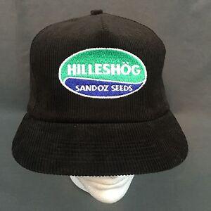 8cc14784a6a7f Image is loading Hilleshog-Sandoz-Seeds-Embroidered-Logo-Corduroy-Black -Snapback-