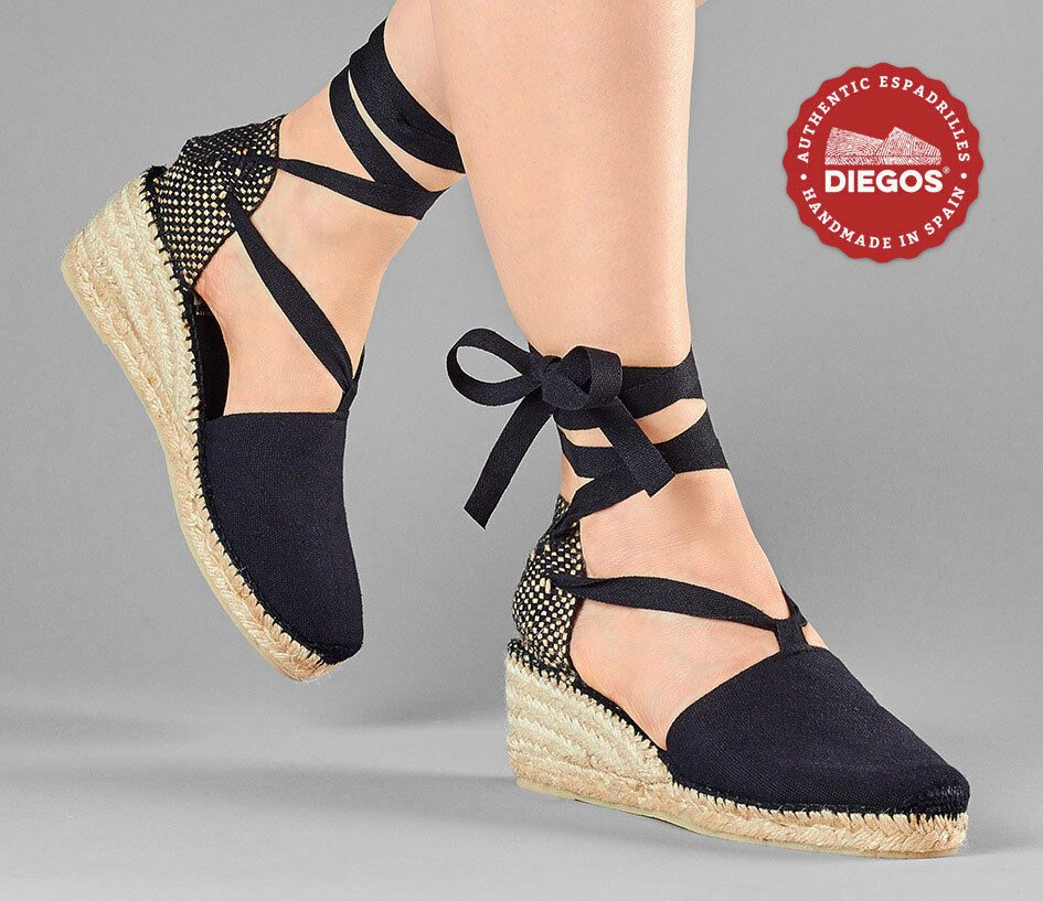Diegos® Authentic schwarz Handmade Spanish Espadrilles | High wedge lace up schuhe