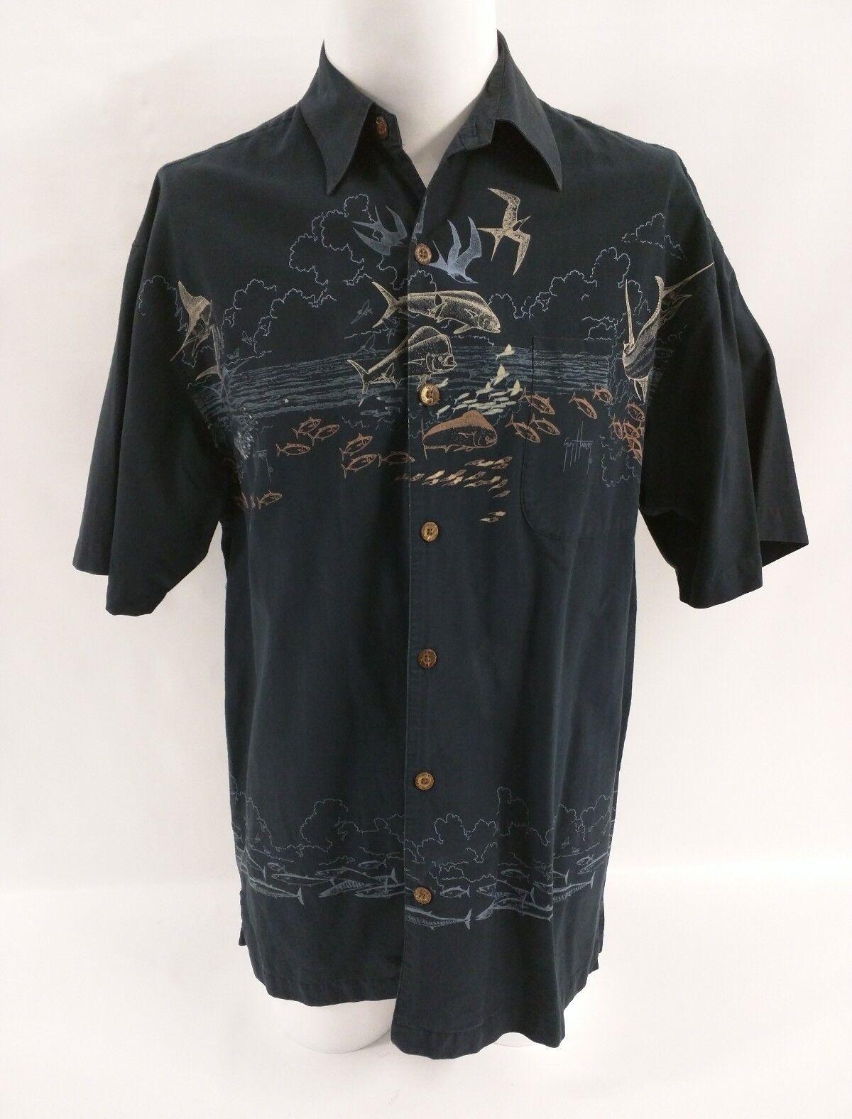 GUY HARVEY bluee orange Marlin Fish Ocean Scene Short Sleeve Shirt Men's Medium