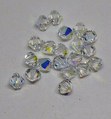 24pc Swarovski Crystal Light Amethyst AB2X 4mm Bicone Beads; Aurora Borealis