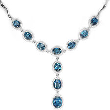 Sterling Silver 925 Genuine London Blue Topaz Drop Necklace 17.75 to 19.75 Inch