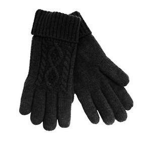 Black Mens Chunky Thinsulate 40g Thermal Fleece Lined Winter Warm Gloves