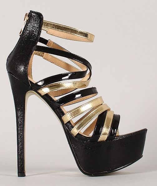 Morgan-XKK-4 Black gold Metallic Strappy Stiletto Platform High Heel shoes