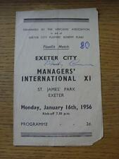 16/01/1956 Exeter City v Managers International XI [Players Benefit Fund] (4 Pag