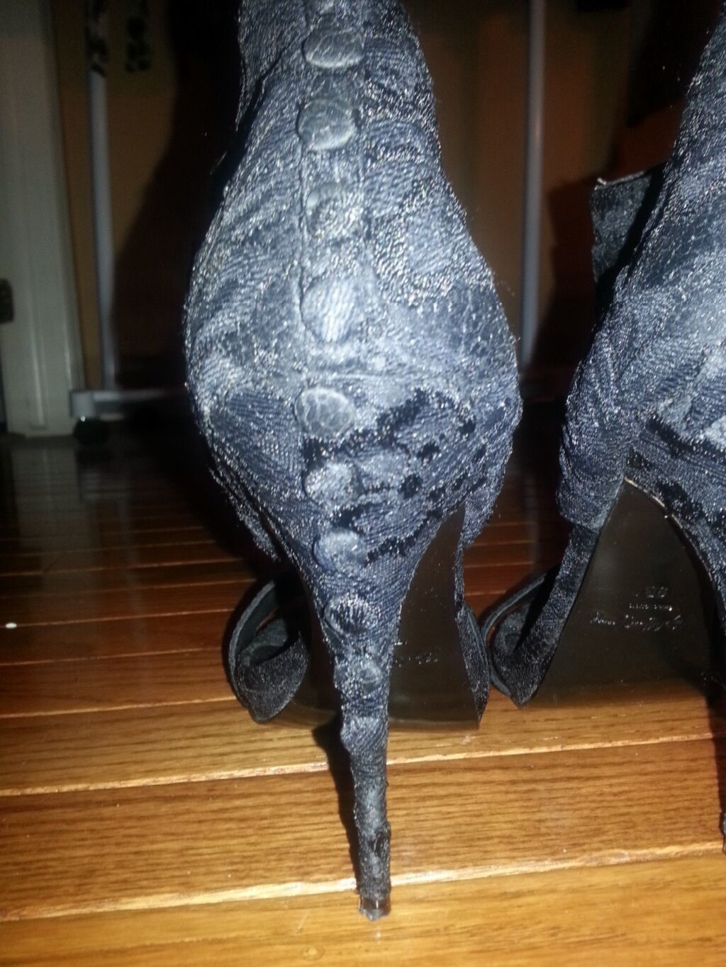ELIZABETH AND JAMES Leders and Lace High Heel Bootie, Sz 9   FREE SHIPPING