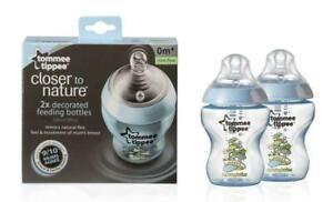 TOMMEE TIPPEE Closer to Nature Anti-Kolik-Flasche 340ml 2 Stück türkis *NEU*