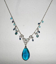 PEACOCK BLUE GLASS VICTORIAN STYLE SILVER PLATED FILIGREE PENDANT NECKLACE 16""