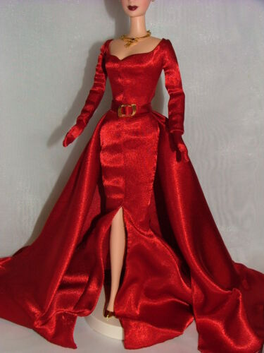 Ship Barbie Glamorous Red Satin Evening Gown ~ Newly Unboxed ~ Free U.S