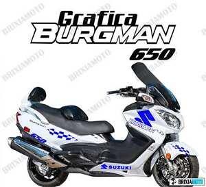 ADESIVI-GRAFICA-RACING-SUZUKI-BURGMAN-650-STICKERS-CARENA-BLU-ADESIVO-2005-2014