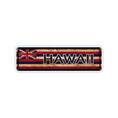 Hawaii State Flag USA Wall Art Gift Vintage Retro Look Street Metal Sign