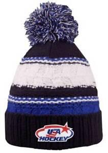 78d16ce3f59 USA Hockey Blue Striped Beanie Cap Stocking Knit Hat Winter Sports ...