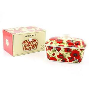 Red Poppy Flower Design Ceramic Butter Dish Kitchen Accessories Lp92561 Ebay