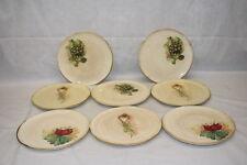 "8pc SUR LA TABLE Rustic Italian Pottery 9.75"" Plates: Radishes Artichoke Garlic"