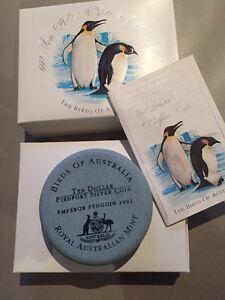 1992-Ten-Dollar-Silver-Piedfort-Proof-Coin-Birds-Of-Australia-Emperor-Penguin
