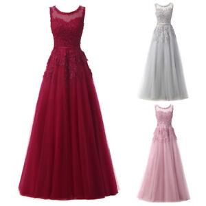 damen hochzeit brautjungfer kleid Ärmellos tüll lang abendkleider partykleider  ebay