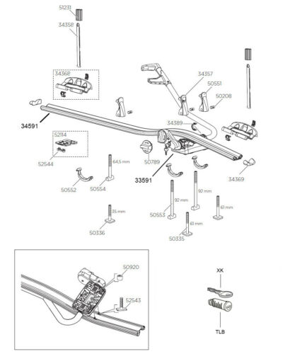 REPLACEMENT CLAMP HANDLE ASSEMBLY T-BOLT T-BAR  THULE PRORIDE 591 CYCLE CARRIER