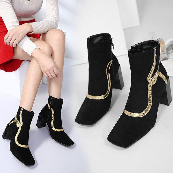 boots low stiletto 8 cm ankle schwarz comfortable like Leder 9578