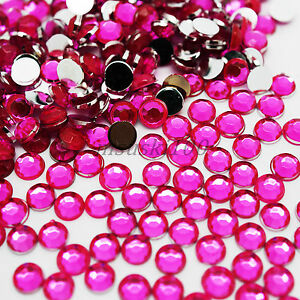 Image Is Loading 1000 Hot Pink Rhinestones 2mm Silver Flat Back