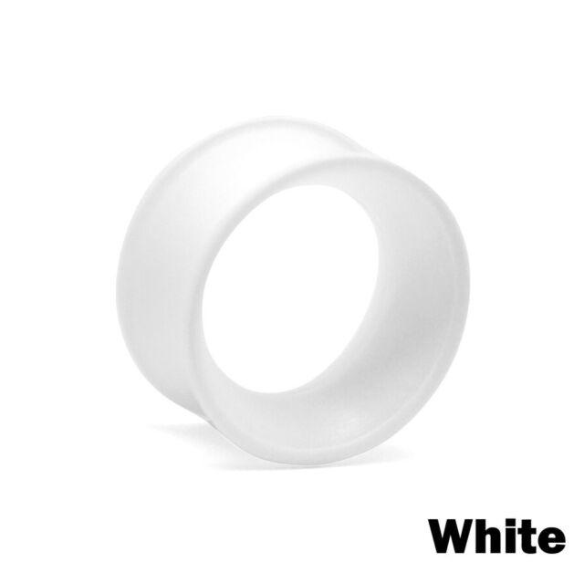 Large Silicone White Ear Plug Size 22mm | Thin Eyelet, Flesh Tunnel