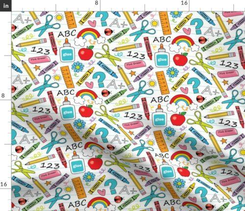 School Supplies Crayon Pencil Eraser Scissors Fabric Printed by Spoonflower BTY