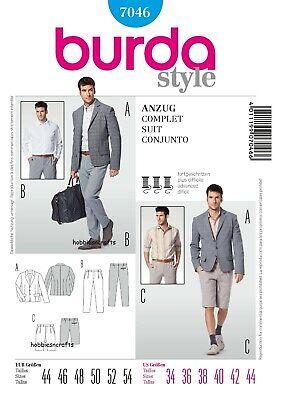B7046 HERREN Anzug & Shorts Burda Dewing Muster Größen 34