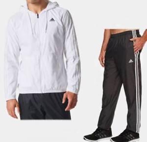 Adidas-Men-039-s-Woven-Matched-Set-jacket-amp-pants-White-Black-size-XL