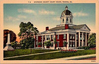 Night View Stephens County Court House TOCCCOA Georgia Vintage Postcard