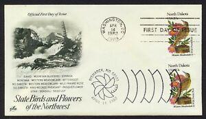 #1986 20c North Dakota, Arte Craft-Dual Cancelado FDC Cualquier 4=