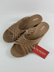 New-with-Tag-Okabashi-Women-039-s-Venice-Slide-Sandals-Color-Toffee-ML-8-9-US