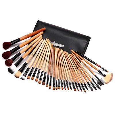 31tlg Pinsel Set Make-up Echthaar Brush mit kosmetik Tasche