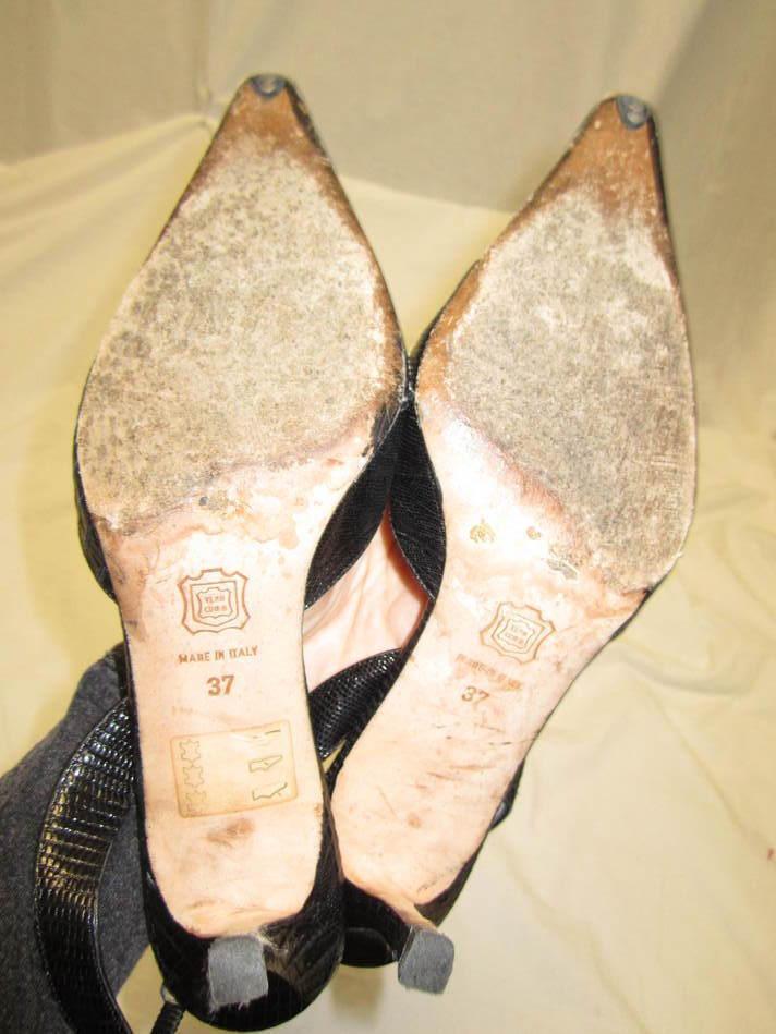 GIANNI GIANNI GIANNI MILANESI schwarz lizard slingback heels schuhe w/ Weiß stitching Größe 37/7 5f669c