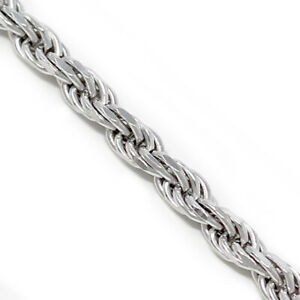 925 Sterling Silver Unisex Necklace Men Silver Long Rope Necklace