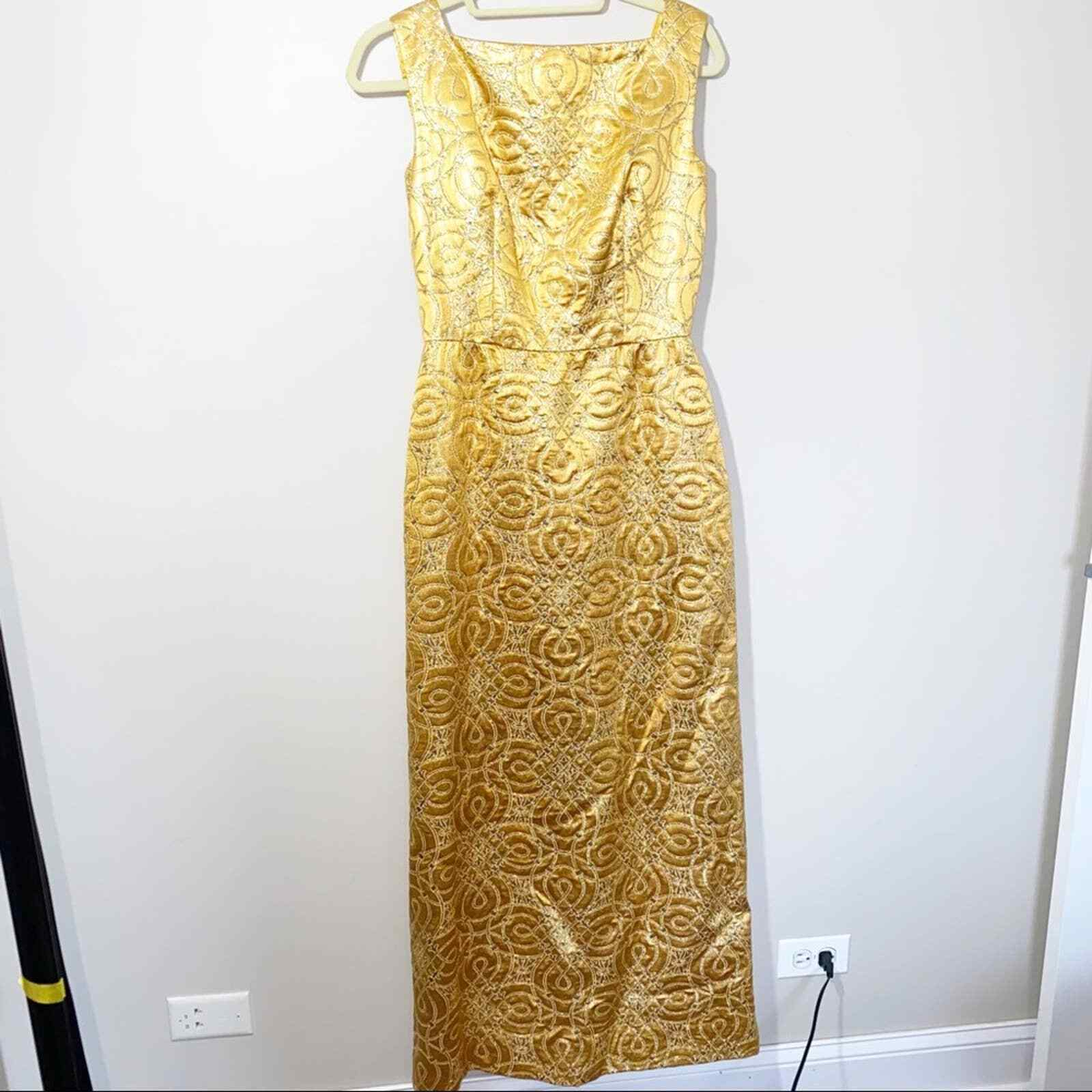 80s Vintage Scaasi Boutique Bombshell Gold Maxi D… - image 2