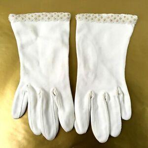 Vintage-Formal-Beaded-Evening-Gloves-Off-White-Wrist-Length