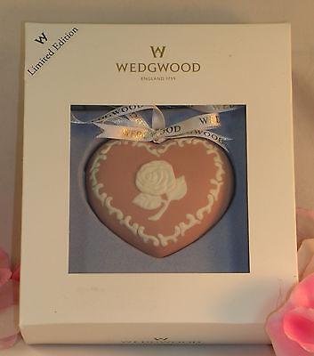 New Wedgwood Pink White Jasperware Breast Cancer Heart Christmas Ornament Ltd ed