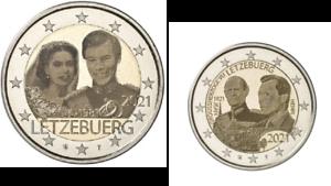 2 x 2 Euros Commémorative Luxembourg 2021 Duc + Mariage Versions Photo
