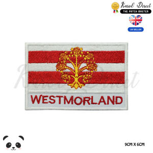 WESTMORLAND-England-County-Flag-With-Name-Embroidered-Iron-On-Sew-On-Patch-Badge