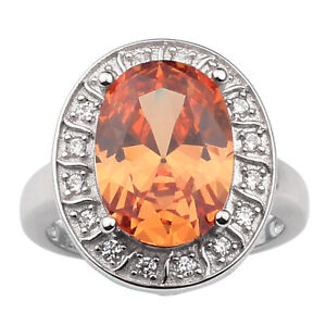 f5802fd2418ff Details about Sterling Silver Ring for Women Big Oval Shield Cubic Zirconia  Jewelry Dress Wear