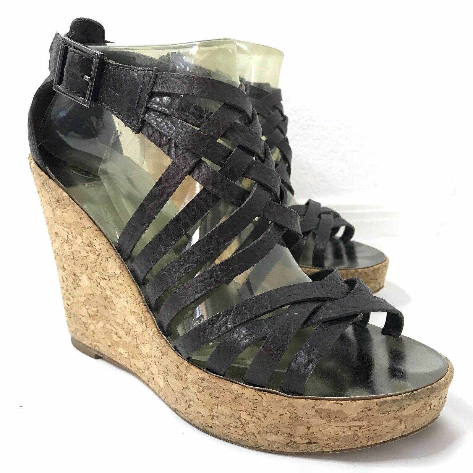 Tory Burch Cork Wedges Platform Heel Leather Cross Strap Women's 9.5