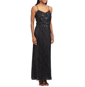 NWT Woherren Chaps Sequin Evening Gown Spaghetti straps  lined schwarz Größe 14