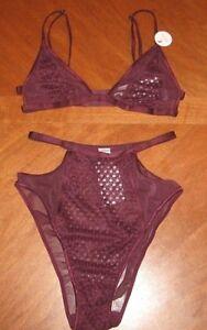 04ac660b7bd69 Forever 21 Women s Panties Bra Set Burgundy Sexy Sheer High Cut ...