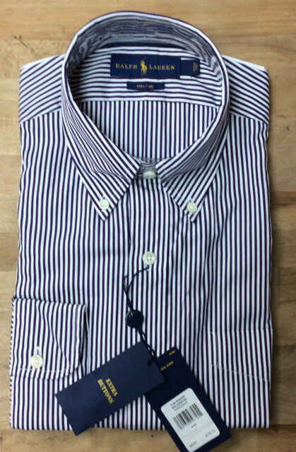 edcc3e85094  145 Polo Ralph Lauren Striped Broadcloth Classic Fit Button-Down Shirt  size Med
