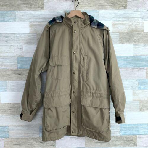 vtg 80s 90s Eddie Bauer Men/'s Wool Flannel Lined Green Mountain Jacket hooded M