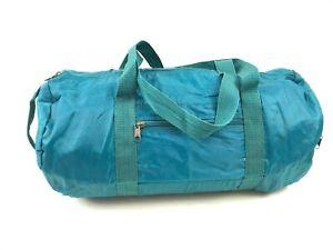 Vtg-90s-PRO-SPIRIT-Turquoise-Gym-Sport-Coated-Nylon-DUFFLE-Bag-Zipper-Pocket-18-034