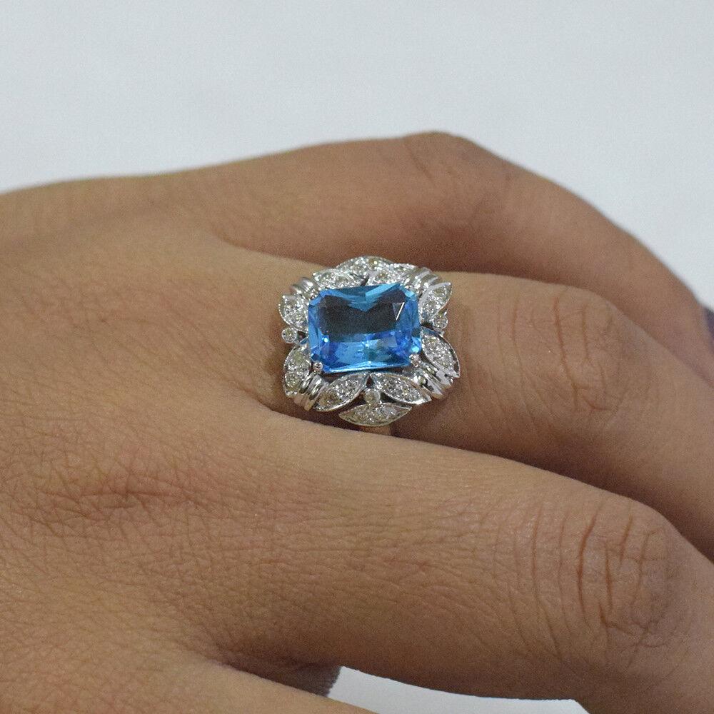 bluee Topaz Gemstone 18K White gold Gift Ring Diamond Pave Wedding Fine Jewelry